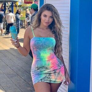 Image 2 - Hugcitar tie dye print kolorowe paski spaghetti sexy bodycon mini sukienka 2019 lato kobiety moda odzież miejska, klubowa, na imprezę