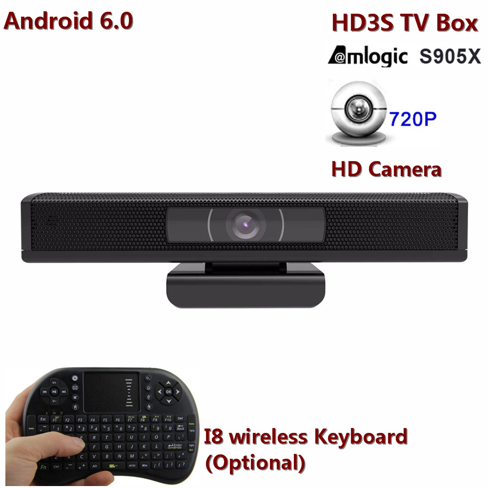 HD3S Android TV Box Built-in 1.0 HD Camera H.265, 4K, 1080p wide view 110 angle Amlogic S905X Quad Core 1G/8G TV Box than HD23 5pcs android tv box tvip 410 412 box amlogic quad core 4gb android linux dual os smart tv box support h 265 airplay dlna 250 254