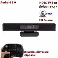 Hd3s Android ТВ box Встроенный 1.0 HD Камера H.265, 4 К, 1080 P широкий угол обзора 110 угол Amlogic s905x 4 ядра 1 г/8 г ТВ коробку, чем hd23
