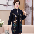 New Arrivals Women Long Section Cardigan Sweater Jacket Fashion High Quality Flower Embroidery Long Sleeve Cardigan Sweater