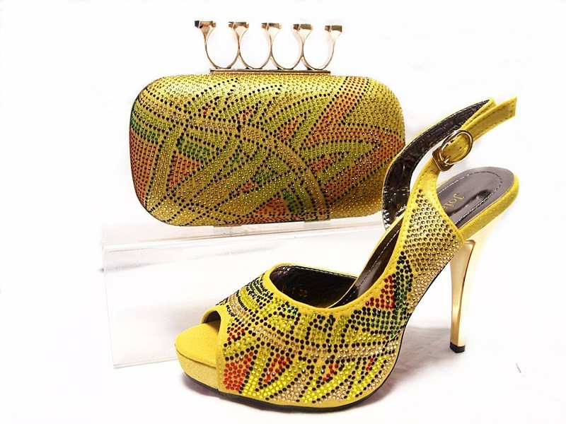 ФОТО  Yellow Nigerian Party Shoes and Bag Set High Quality Matching Shoes and Bag Set Wedding Shoes and Bag High Heels JA10-5