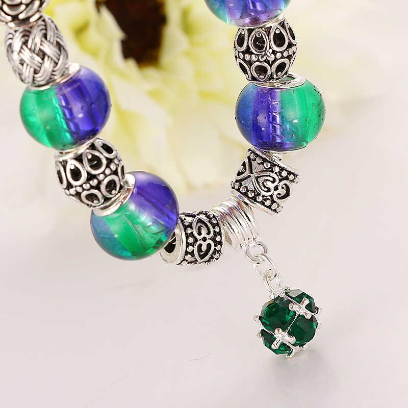 Emmaya צבע כסף בציר קסם חרוזים זכוכית קריסטל צמידים לנשים צמידים & הצמידים Pulseras תכשיטי DIY