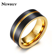 NEWBUY Fashion Men Ring 8MM Tungsten Carbide Wedding Band Ring Black Surface Gold Line Ring(China)