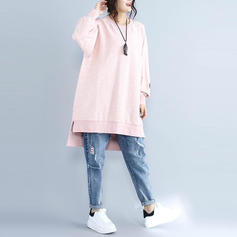 782b4699e11 NBHUZEHUA H178 Embroidery Sweatshirt Women Plus Size Irregular Pink  Pullover Hoodie Long Sleeve Sweatshirt Jumper 4XL 5XL 6XL -in Hoodies    Sweatshirts from ...