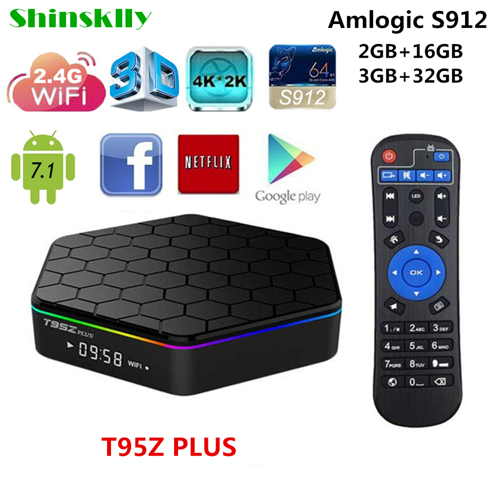 T95Z Plus Android 7.1 smart tv box Amlogic S912 Octa Core RAM 2G 3G+16G 32G Android tv box WIFI 4K IPTV Media player Set top box shinsklly x92 android tv box amlogic s912 octa core ram 2g rom 16g 32g smart tv box android 6 0 wifi 4k 3d player set top box
