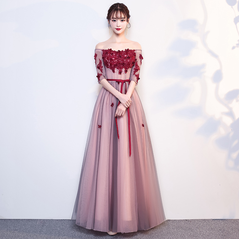 New Shoulder Length Hostess   Dress     Bridesmaid     Dress   Formal Wedding Party Prom Reflective   Dress   robe de soiree vestido de noiva