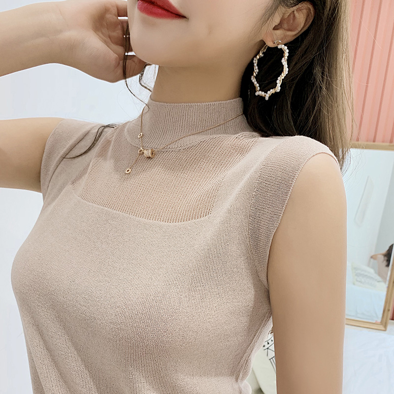 Vest Top Pullover Knitted Silk Elasticity Sexy Hollow-Out Korean Casual Women Summer