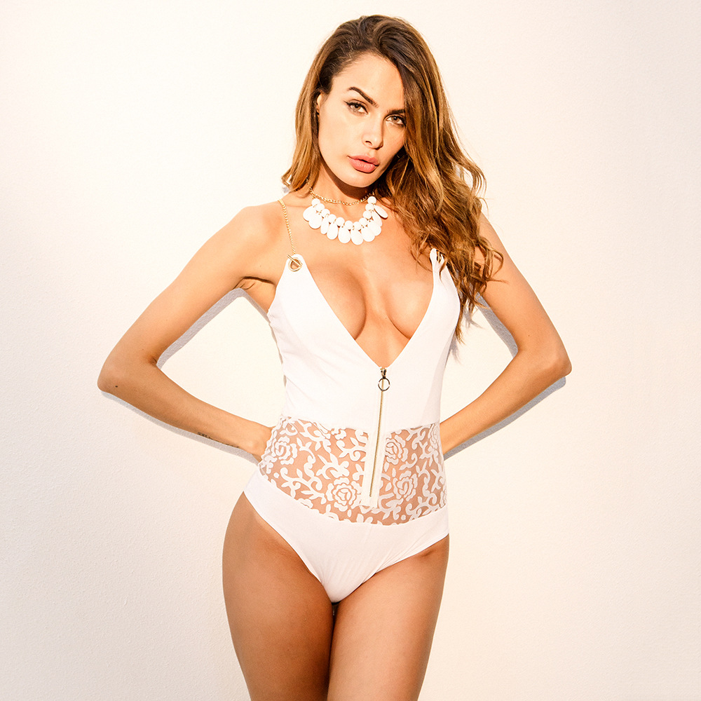 New arrival Summer Europe America Russia Women Metal Chain Zipper Patchwork Lace Slim Thin Regular White Women Femme Bodysuits