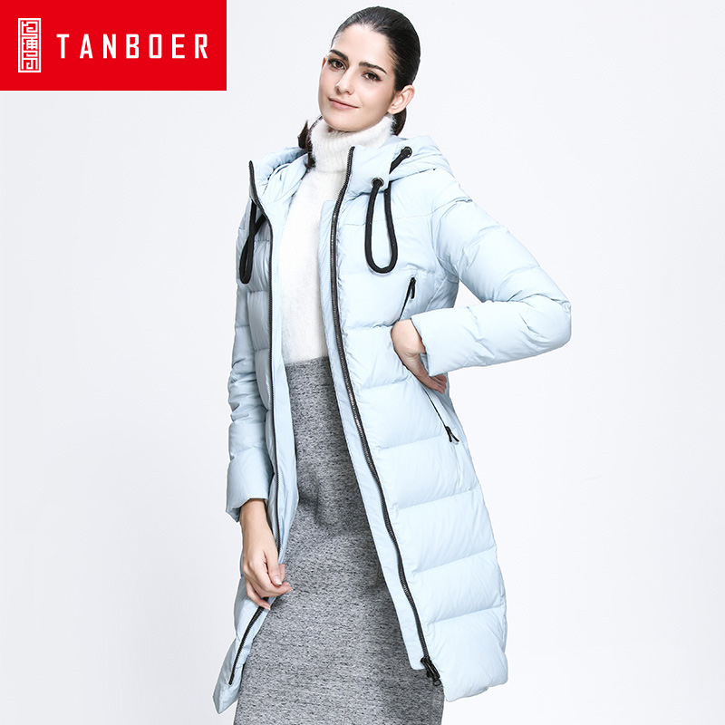 TANBOER women's   down   jacket female pure color hooded fashion Korean long version of the loose   down     coats   winter   coats   TB3726