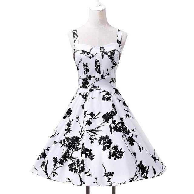 cbd38eee7b1f Audrey hepburn Style 1950s 1960s 50s Classic Retro Rockabilly Dresses Dot  Floral Print Swing Vintage Dress Casual Party CL6093
