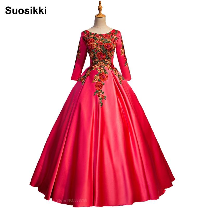 Ball Gown Embroidered Wedding Dress: Suosikki New Design Embroidery Wedding Dress Red Ball Gown