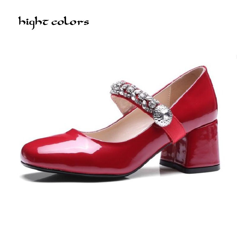 Plus Size 33~43 Brand Women Shoe Mary Jane Ladies High Heels White Sexy Wedding Shoes Thick Heel Pumps Lady Shoes Black Red gold lace pumps women mary jane shoes crystal pearl studded sandals red black pink ladies strange high heels wedding shoes