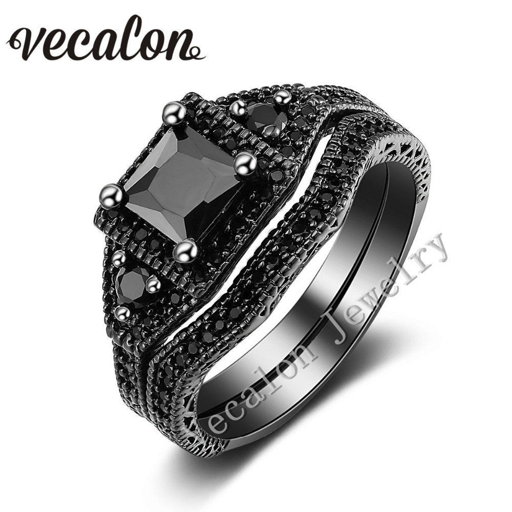 Vecalon Cute New Wedding Band Ring Set For Women Black Stone 5a Zircon Cz  10kt Black Gold Filled Female Engagement Ring
