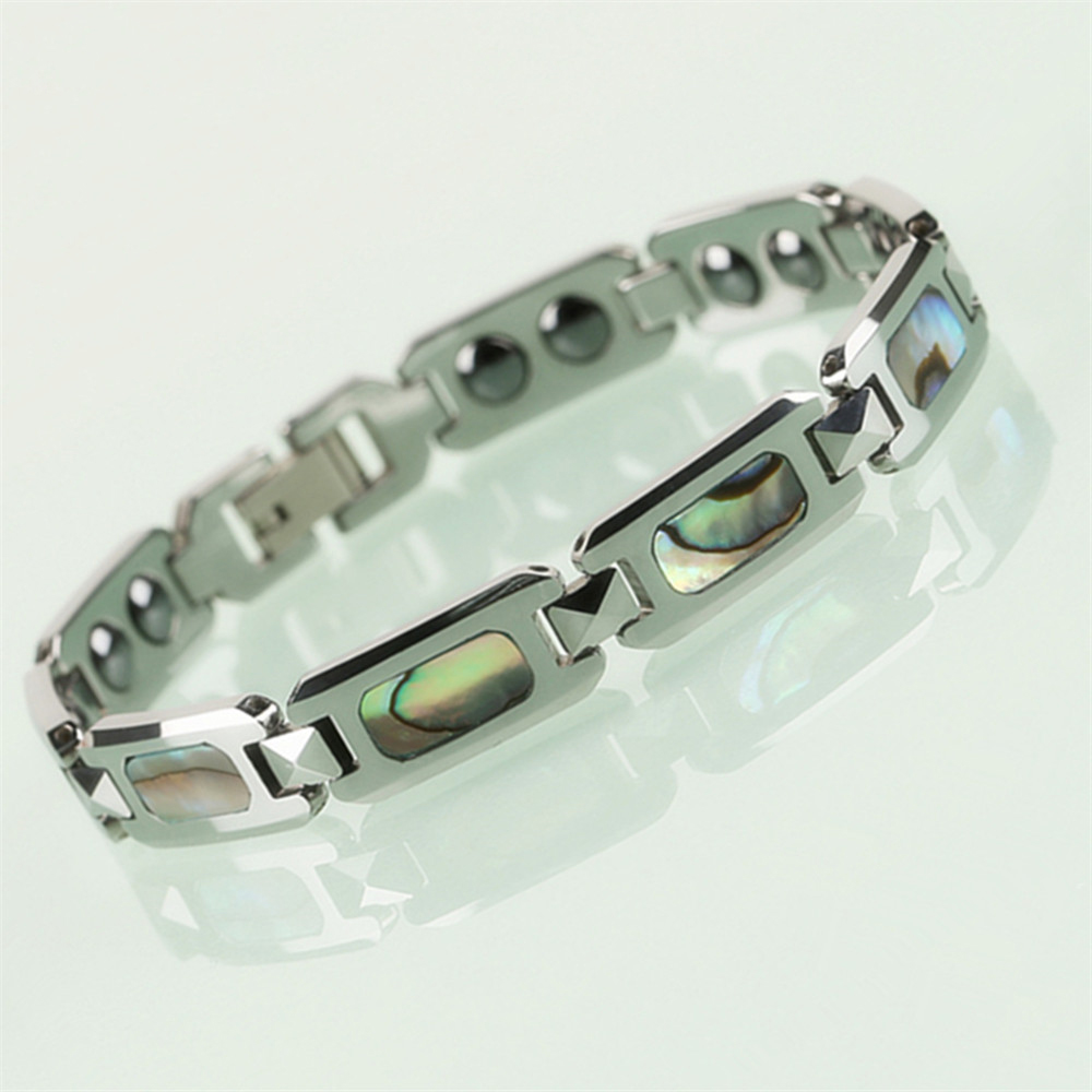 Hot Selling Men Tungsten Bracelet Bangles with Magnetic Stones inlay Rectangle Colorful Natural Mother of Pearls