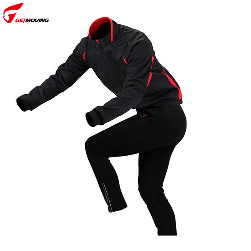 GETMOVING Autumn Hooded Cycling Jacket Sets Windproof Long Sleeve Bike Riding Coat Pants Suits Men Women Bicycle Clothing