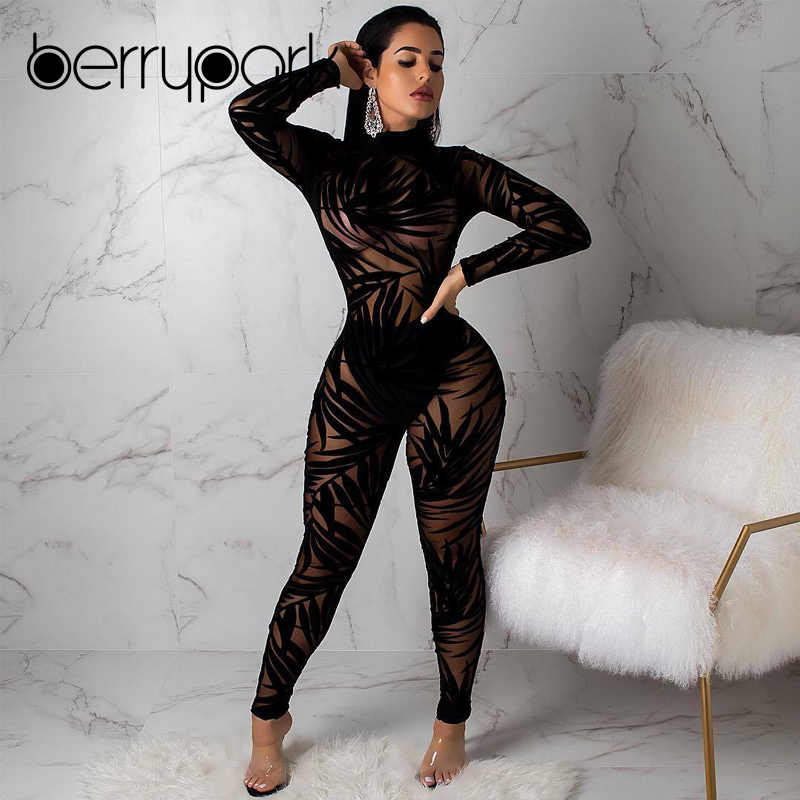 bbed467b313 ... BerryPark Leaves Mesh Transparent Sexy Jumpsuit 2019 New Autumn Winter  Women Long Sleeve Turtleneck Skinny Romper ...