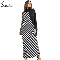 Siskakia Turtleneck Dressing Gowns For Women Warm Maxi Long Dress Plus Size Middle East Muslim Tunics