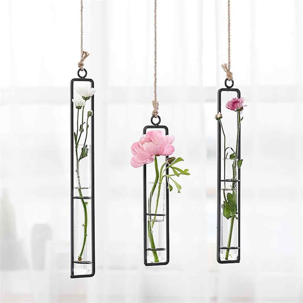 Kreatif Wall Hanging Vas Bunga Kaca Besi Hidroponik Planter