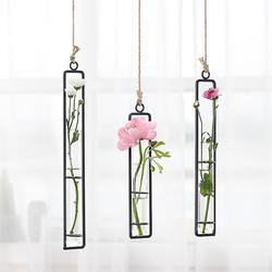 Kreatywna ściana wiszący kwiat wazon żelaza szkło hydroponika doniczka przezroczyste wiszące wazon na kwiaty ozdoba domu dekoracji
