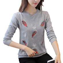 Embroidered Beading Pullovers Sweater Women Feather snowflakes Soft Sweaters 2018 Autumn O-Neck slim knit pullover tops shirt