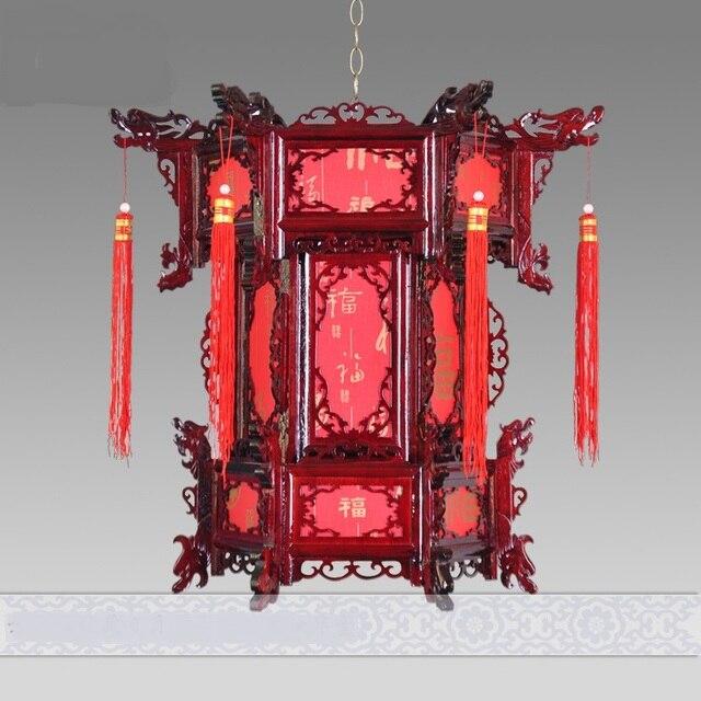 배송 중국 스타일 양모 골동품 등불 펜던트 라이트 육각 랜턴 발코니 복도 조명 결혼 램프 ZS79