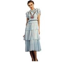 Vintage 2017 Ruslana Korshunova Women S Summer Sleeveless Handmade Paillette Runway Sequined Layer Chiffon Dresses High