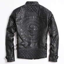 2017 мужская кожаная череп мотоциклетная куртка черный воротник плюс Размеры XXXL Короткие Slim Fit Мужские Зимние байкерская куртка Бесплатная доставка