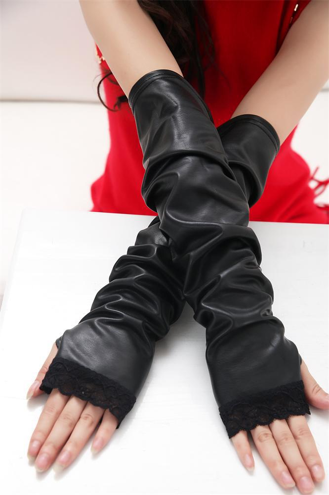 2019 New Fashion Women Solid Adult Synthetic Leather Pu Leather Gloves Lace Arm Sets Warm Semi - Finger Cuff Factory Direct