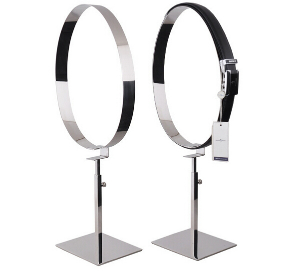 En métal argenté en acier inoxydable miroir support de ceinture ceinture monture de support stand homme ceinture affichage rack support de ceinture debout
