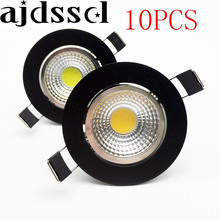 10XNew arrivel LED Dimmable Led downlight lamp black COB 3w 5w 7w 12w Spot light 85-265V ceiling recessed Lights Indoor Lighting