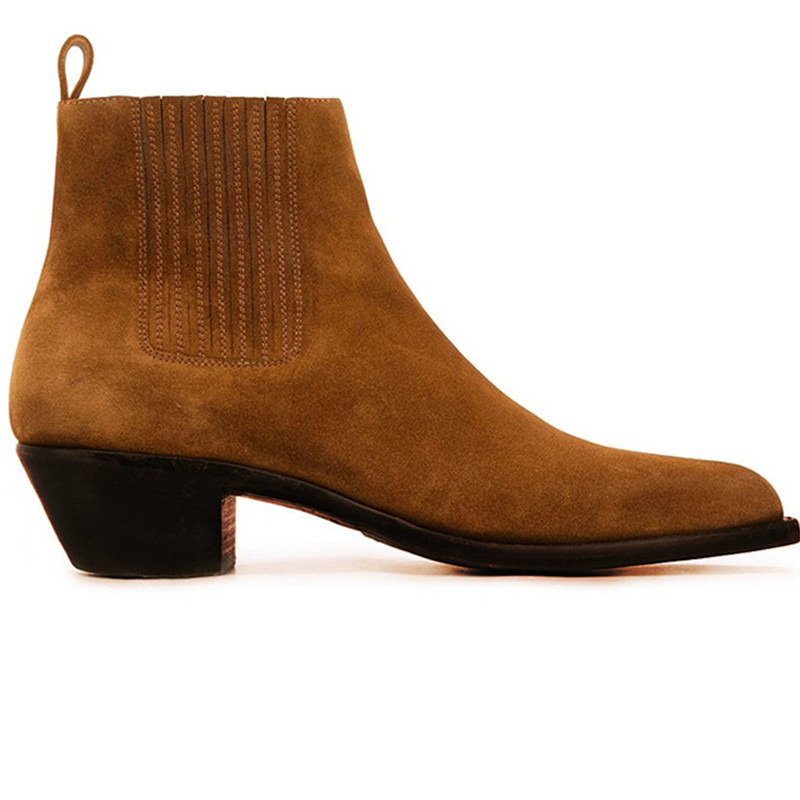 Orange color suede wedge slip on  fashion male boots business brogue formal  Chelsea ankle boots