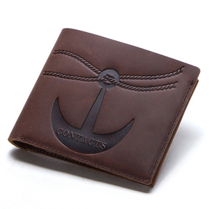 Image 2 - CONTACTS crazy horse 100% genuine leather men wallet slim short coin purse walet man card holder male small coin pocket wallets