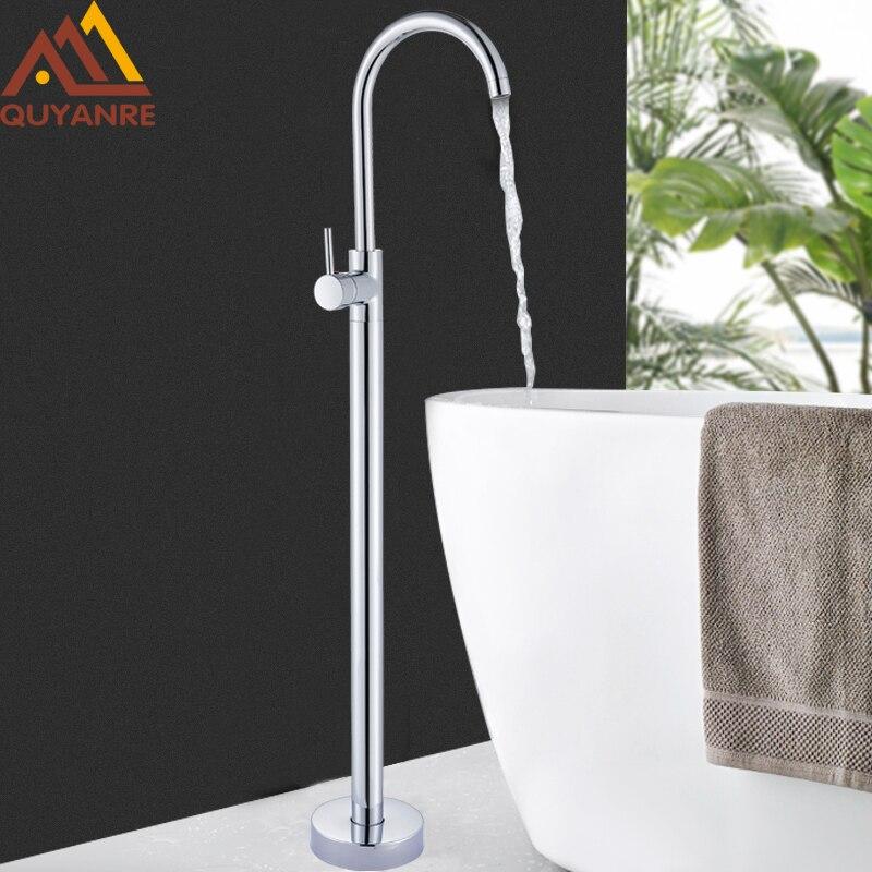 Quyanre Chrome Bathtub Shower Faucet Floor Standing Bath Tub Spout Shower Single Handle Mixer Tap Bathroom Shower Faucet Mixer