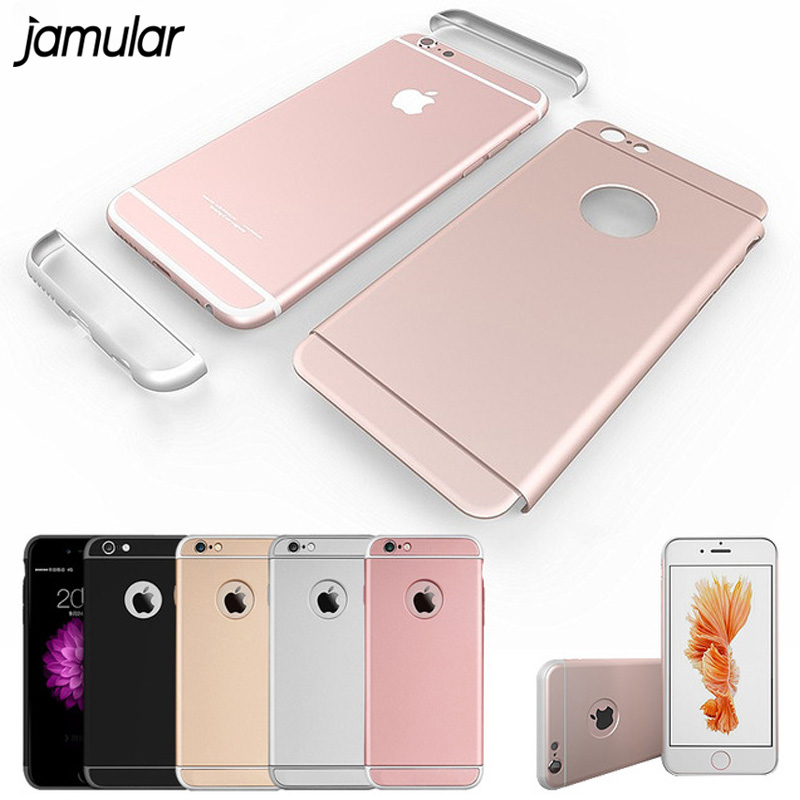 JAMULAR Logo Window case for iphone <font><b>6</b></font> 6s <font><b>6</b></font> plus Luxury Removable 3 in <font><b>1</b></font> Hard Plastic <font><b>phone</b></font> case cover for iphone <font><b>6</b></font> 6s