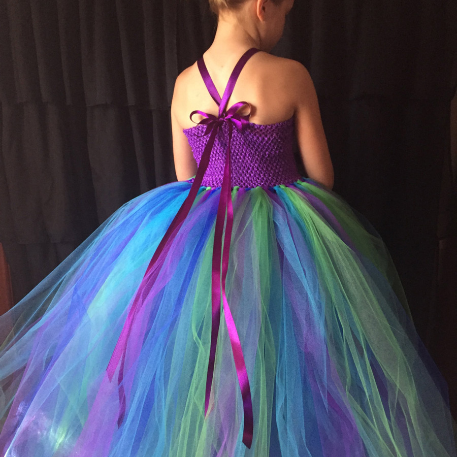 Peacock Flower Girl Tutu Dress Turquoise and Purple Tulle Wedding Dress Kids Purim Party Ball Gown Elegant Princess Prom Dress (1)