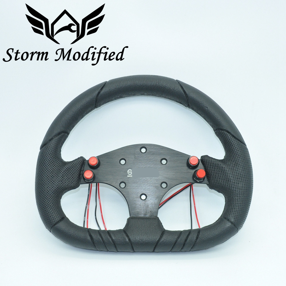 SuTong High Quality Universal car SPCO racing steering wheels with pu and leather aluminum branket leather steering 5199