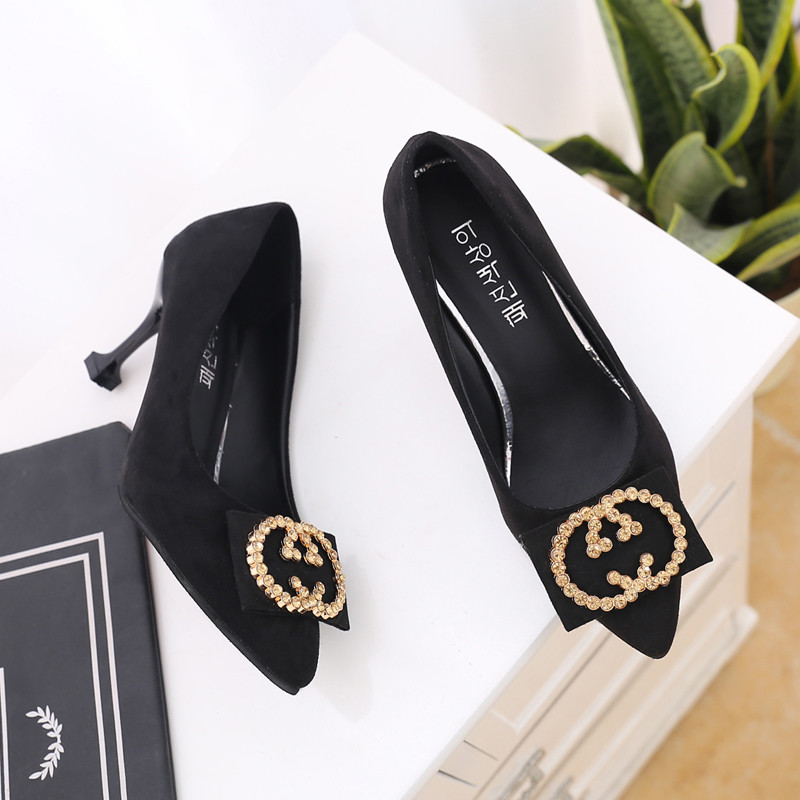PHYANIC Women's shoes 7cm Thin High heels Suede Shallow mouth Pointed Circular Rhinestone buckle women pumps