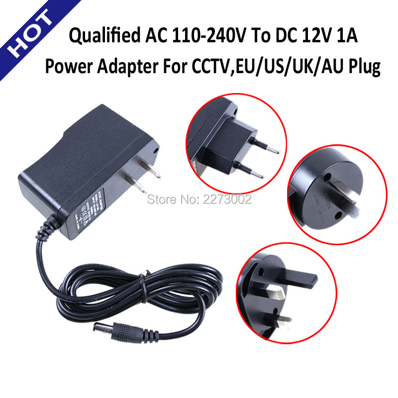 Qualified AC 110-240V To DC 12V 1A Power Supply Adapter For CCTV,EU/US/UK/AU Plug IP CAMERA NVR DVR