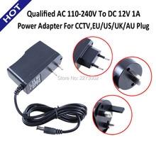 Qualified AC 110-240V To DC 12V 1A Power Supply Adapter For CCTV,EU/US/UK/AU Plug IP CAMERA NVR DVR