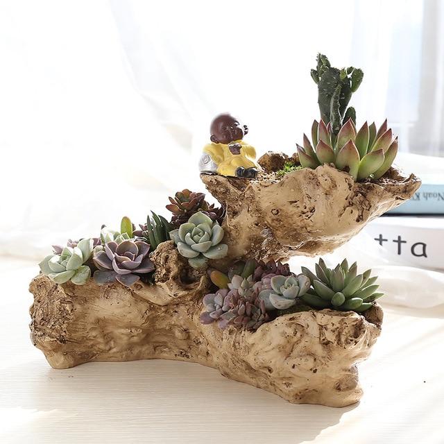 Planteur de bois flott artificielle r sine pot de fleur for Deco bois flotte jardin