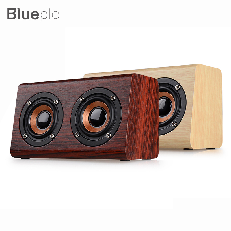 W7 Retro Wood HIFI 3D Dual Loudspeakers Bluetooth Wireless Speaker for phones