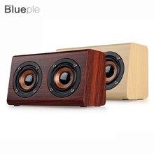 Новинка 2017 список W7 Ретро древесины HiFi 3D Двойной Громкоговорители Bluetooth Беспроводной Динамик с Hands-Free карты памяти AUX IN для телефонов
