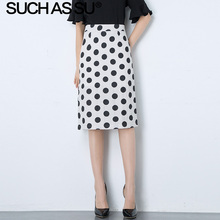 цена на New Linen Polka Dot Skirt Women Summer White Wave Point Print High Waist Pencil Skirt S-3XL Plus Size Midi Bodycon Skirt Female