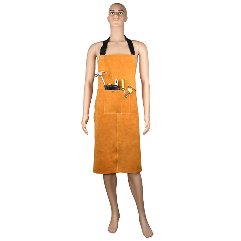 BUYBAY Safurance Welders Welding Apron Cowskin Leather Heat Insulation Protection Blacksmith Workwear Protective Clothing