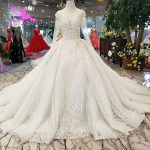 Image 4 - AIJINGYU Wedding Gowns With Sleeves Buy Gown Online Imported Romantic Love Train Dresses Satin New Wedding Dress