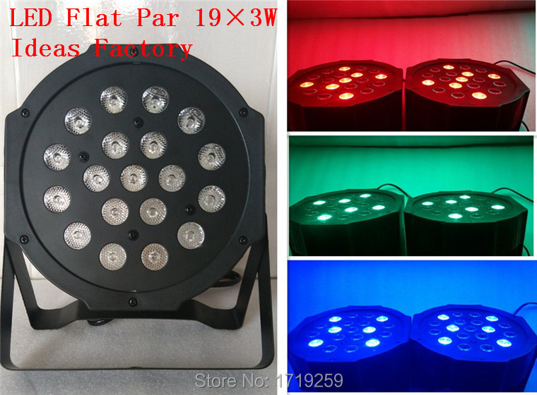 ФОТО 6pcs/lot  2015 Hot New Flat LED Par RGB Wash Light 19x3W 3/7 Channels, Music control, dmx, auto run, strobe, dimmer