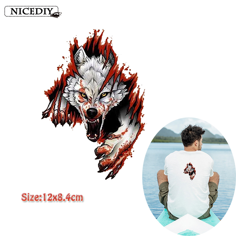 Nicediy 3D Punk Wolf Patch Iron Transfers For Clothes TShirt Ironing Stickers Heat Thermal Applique Washable DIY
