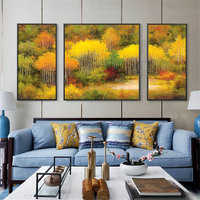 Oil Art Poster Landscape Painting Canvas Print Wall Art Picture Autumn Forest Scenery Decorative Painting for Bedroom Home Decor