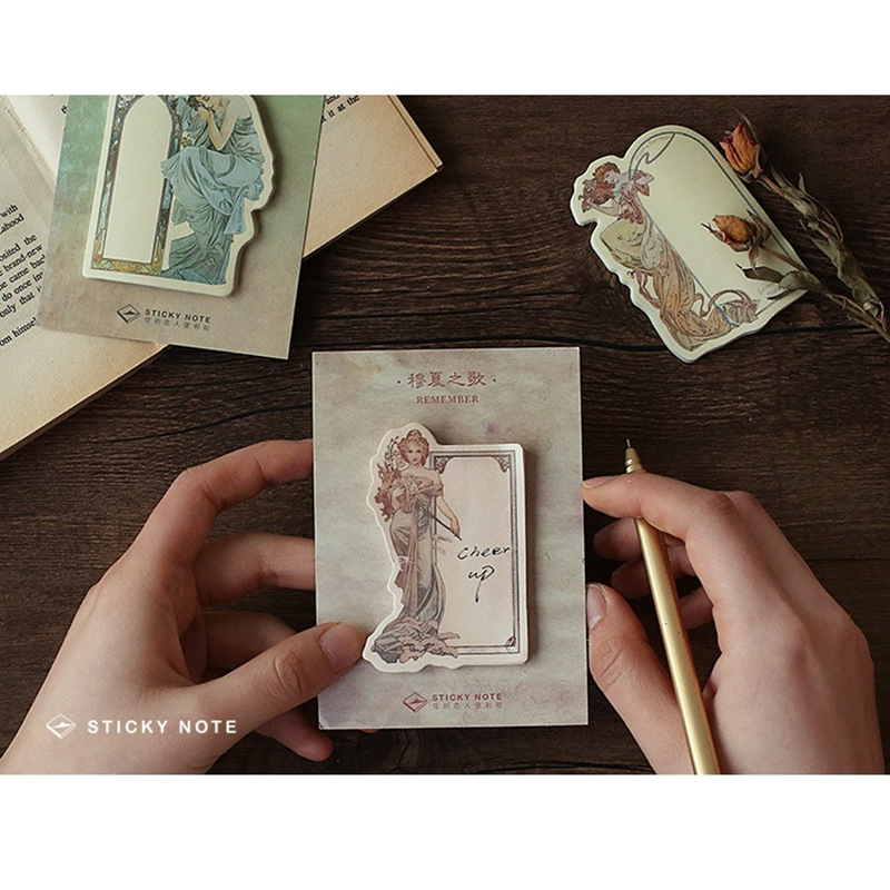 36 pcs/Lot Masterpiece Mucha stick memo Vintage drawing Decorative post planner sticker Stationery Office supplies A6121