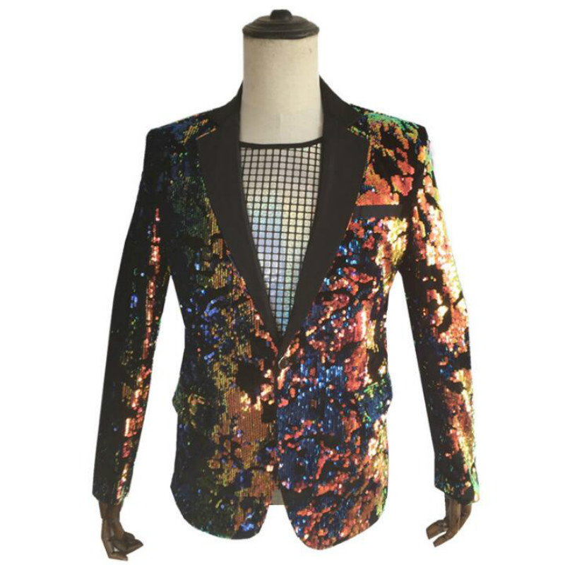 2019 Europe And The United States New Men's Flip Film Colorful Suit Nightclub DJ Host Sequin Costume Men
